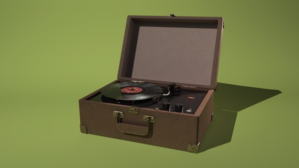3d record player model