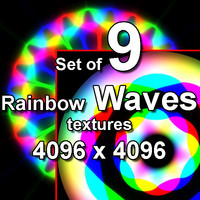 Rainbow Waves 9x Textures, set #1