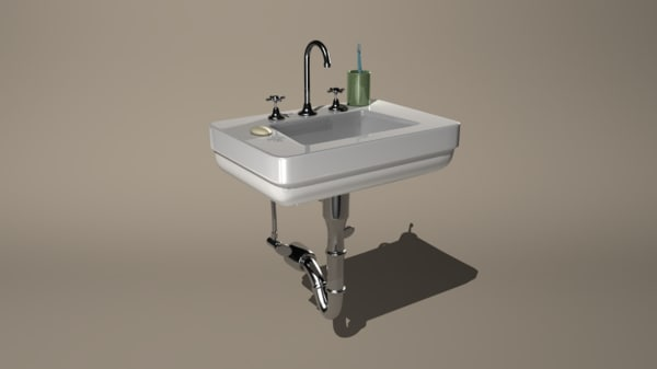sink soap toothbrush 3d model