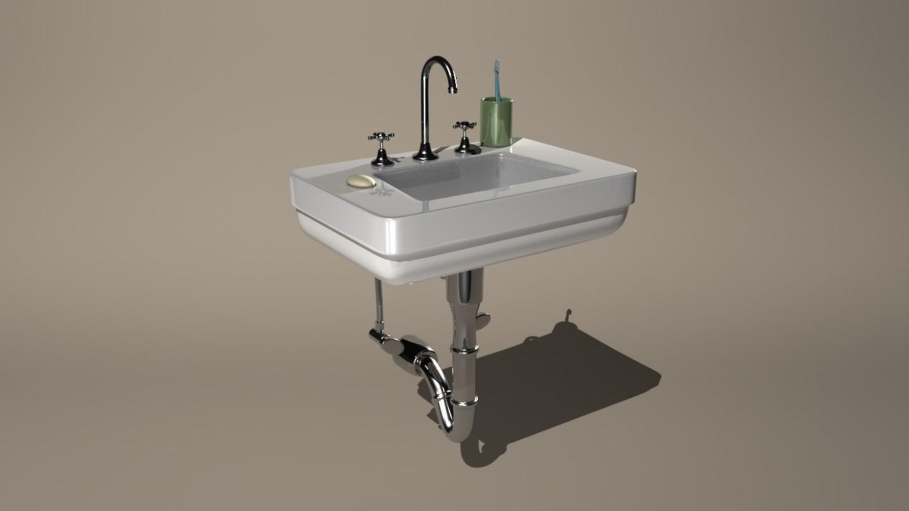 sink soap toothbrush 3d model