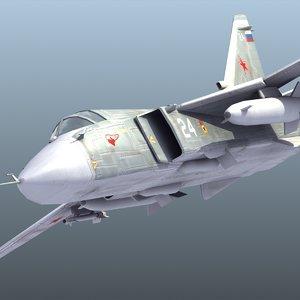 3d model sukhoi su-24 fencer