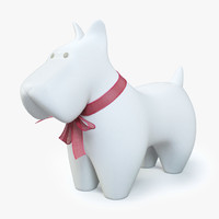 Ceramic Dog With Ribbon