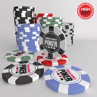 poker chips 3d obj