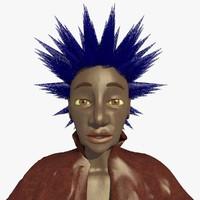 punk helen female character 3d c4d