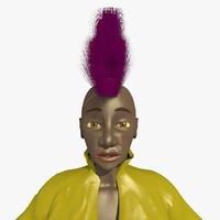 3d model mohican punk helen female character