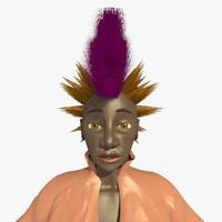3d mohican punk woman helen model