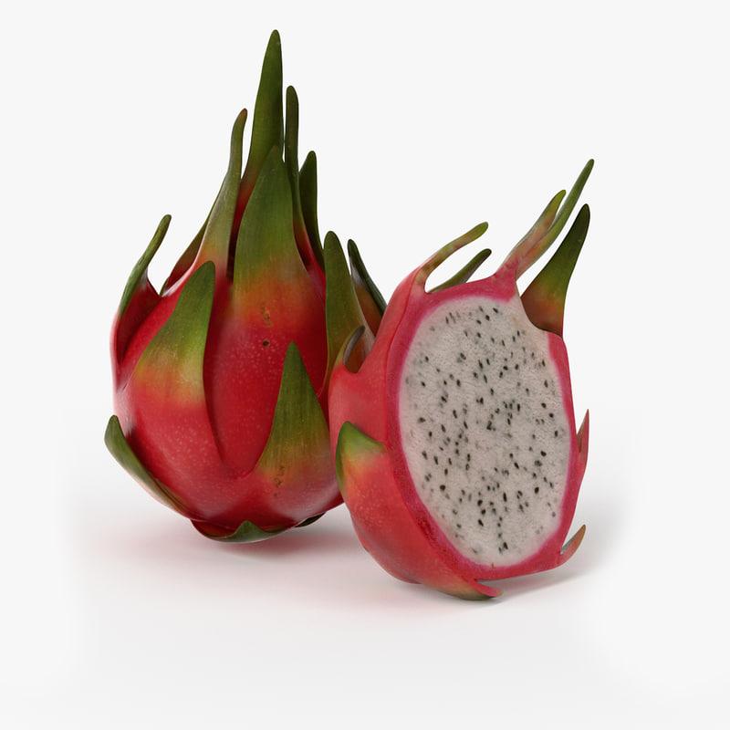3d model realistic dragonfruit real fruit
