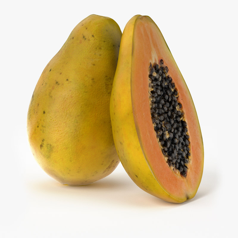 realistic papaya fruit real 3d model