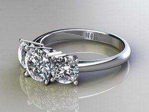 3d stone engagement ring