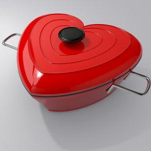3d model heart shaped stewpot