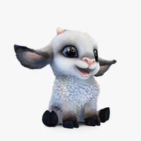 3ds max cute cartoon sheep pose