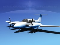 piper seminole pa-44-180t turbo 3d dwg