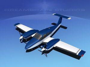 3d model piper seminole pa-44-180t turbo