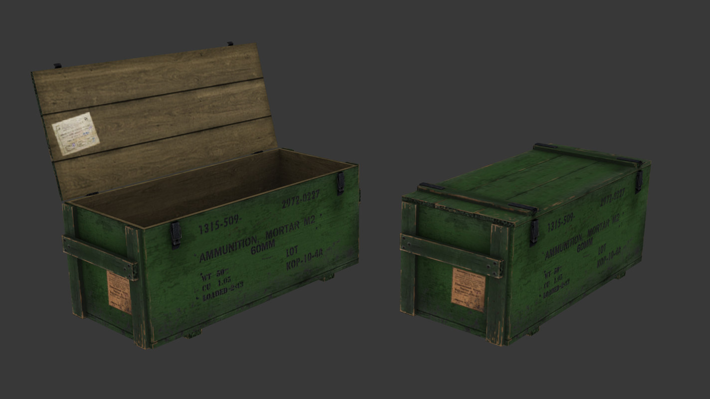 3d model ammo crate pack