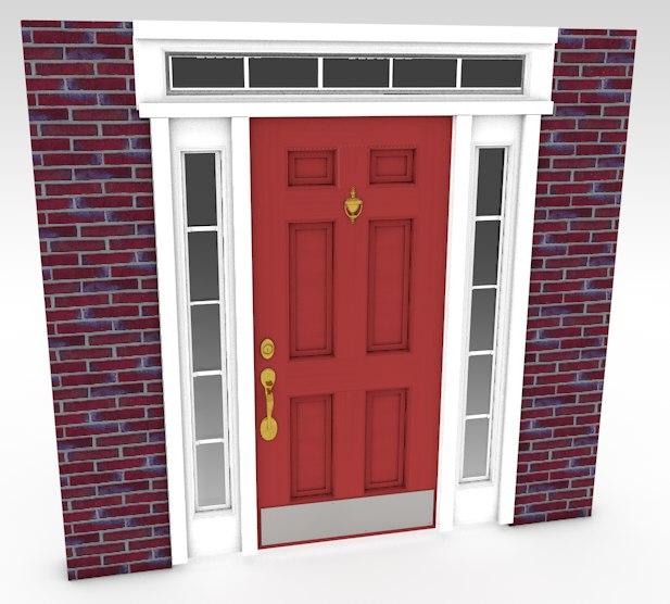 3d door red model