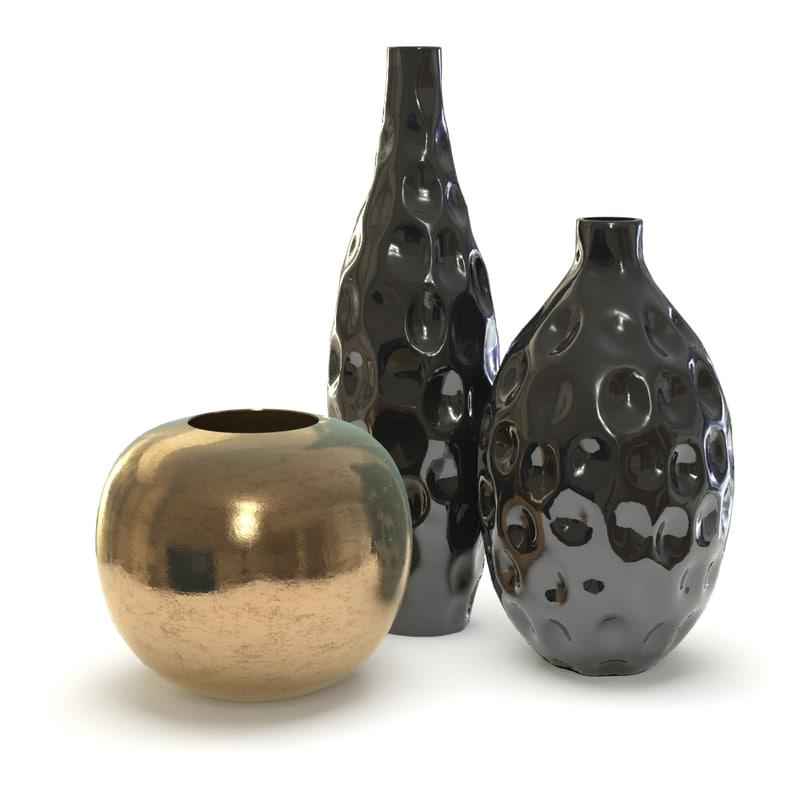 3d model of 3 vases