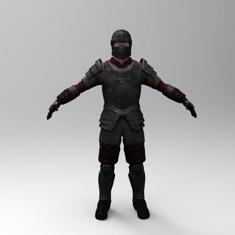 knight games - iron armor 3d model