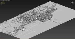 chicago city skyline massing 3d model