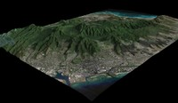 honolulu city skyline mountains 3d model