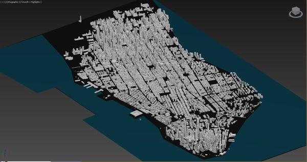 new york city skyline 3d obj
