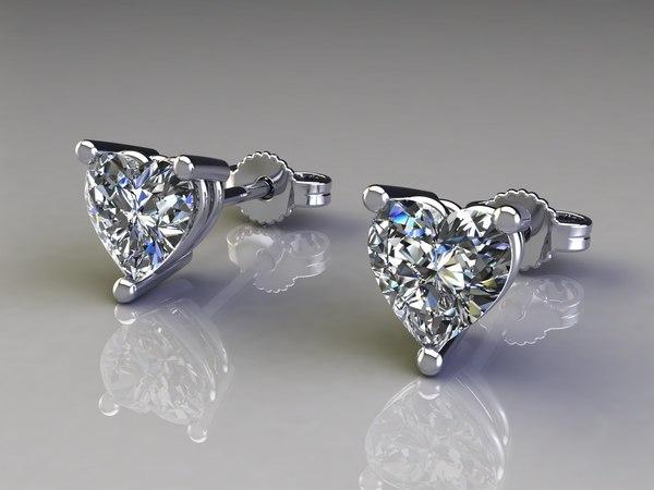 earrings diamonds stone 3d 3dm