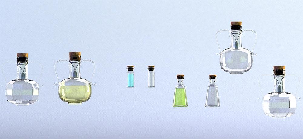 glass bottles liquids 3d obj