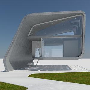 3d model of futuristic housing 1 modern