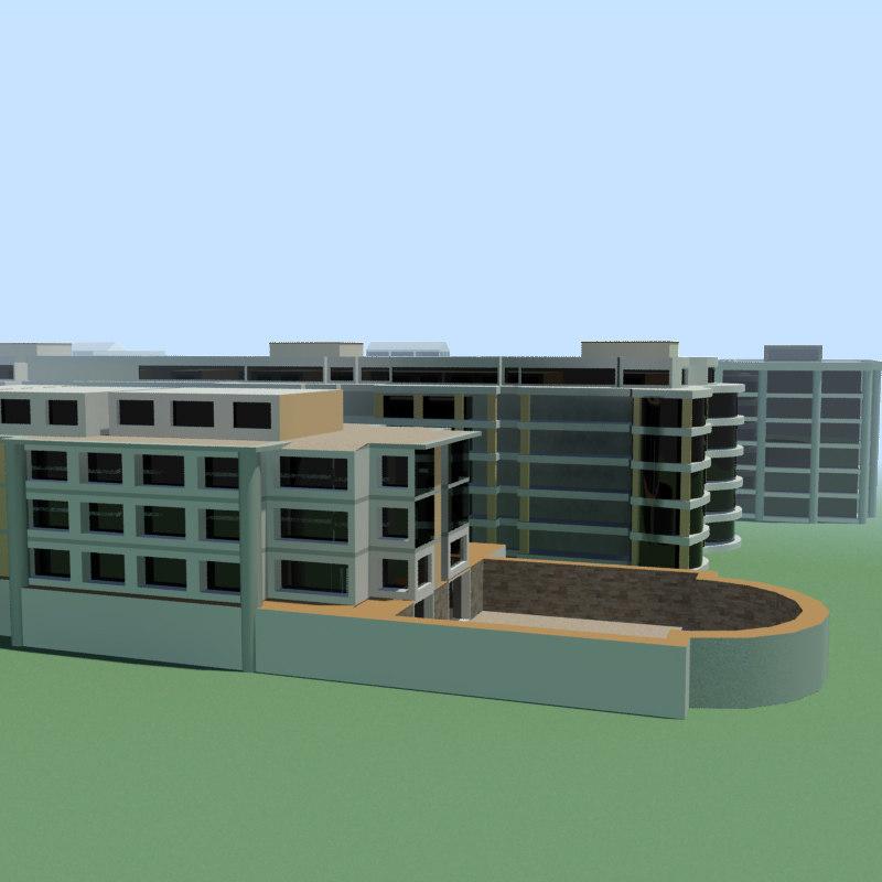 stylised buildings obj