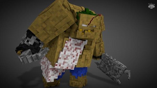 minecraft pudge 3d c4d