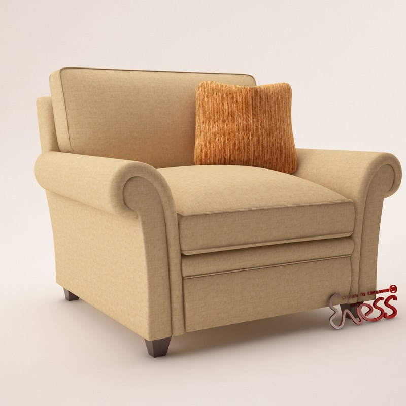 armchair baker club chair 3d 3ds