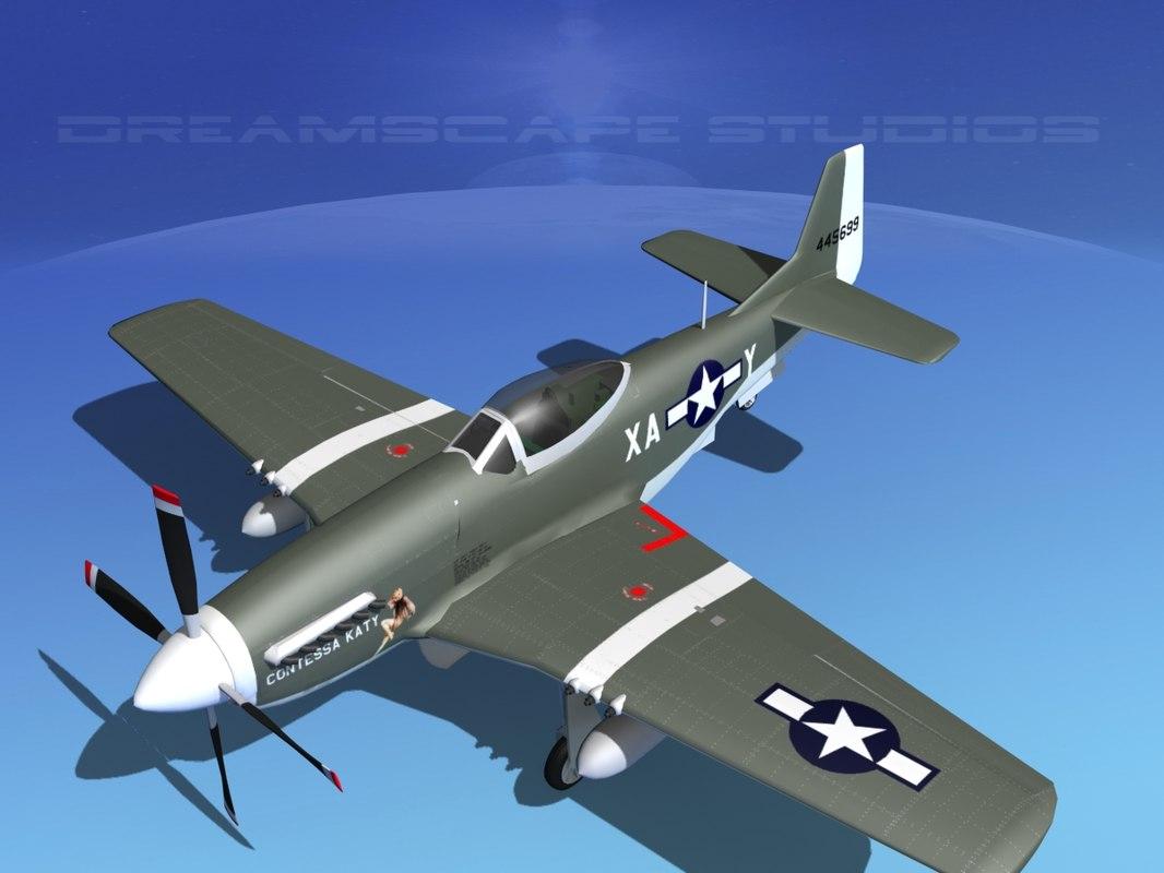 3d p-51d cockpit propeller model