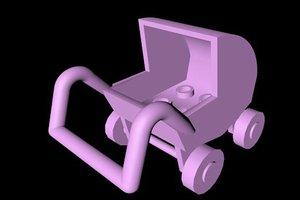 3d model lego pram pushchair