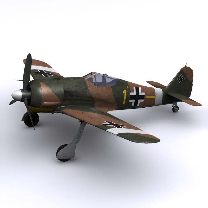 3d focke-wulf fw fighter airplane
