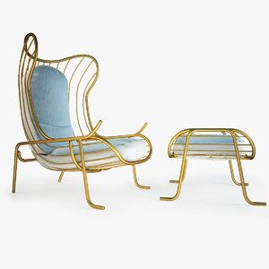 3dsmax arpa chair footstool