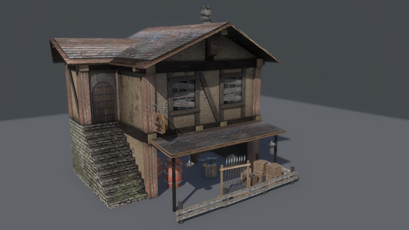 ready medieval blacksmith house building 3d obj