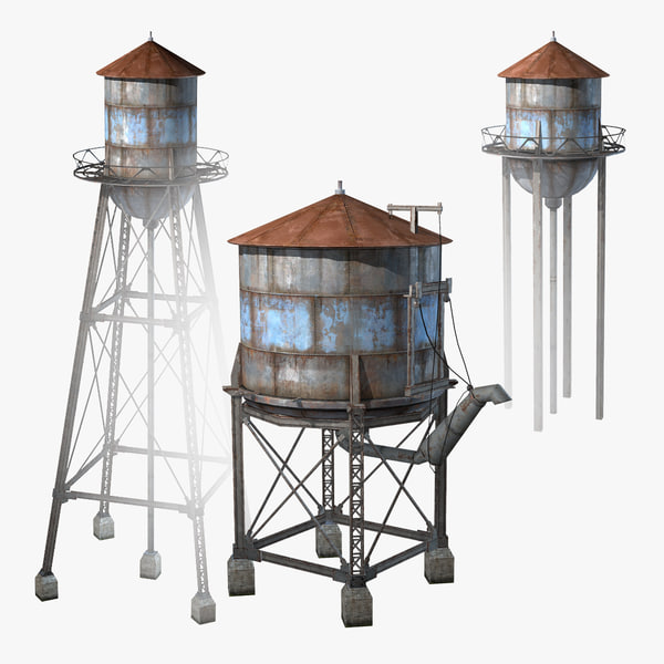 3d set water towers model