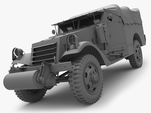 3d model m3a1 scout car