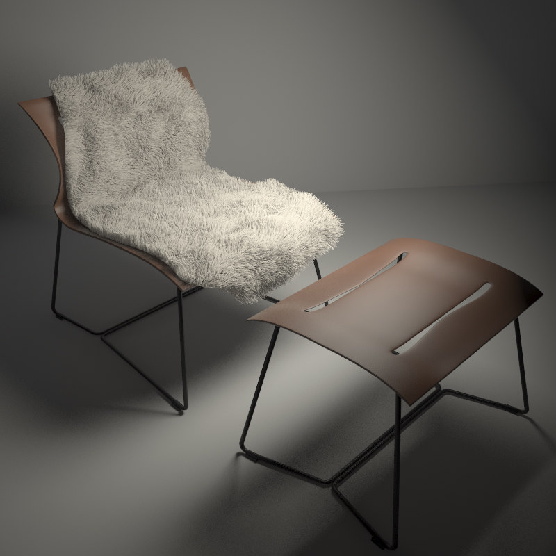 3d model knoll cuoio lounge