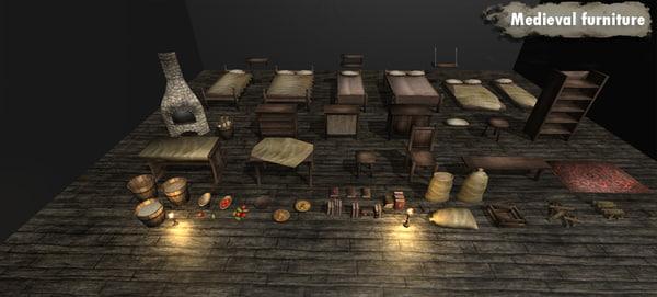 3d medieval furniture props