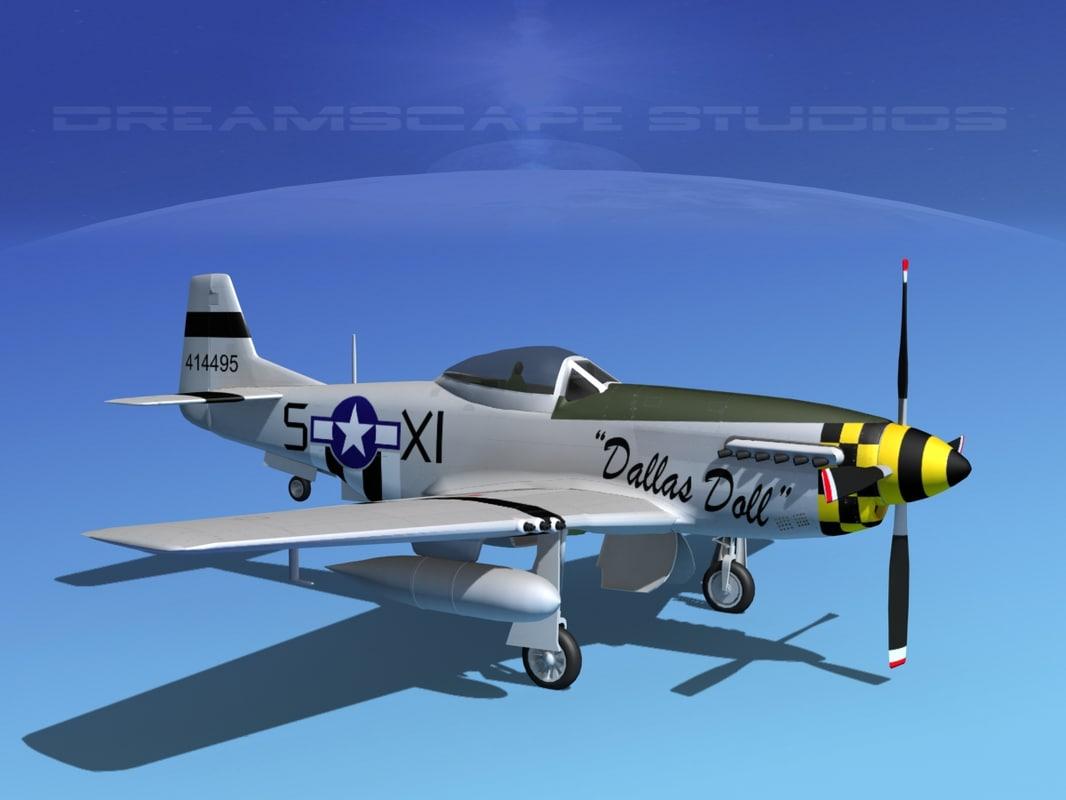 3d model p-51d cockpit propeller