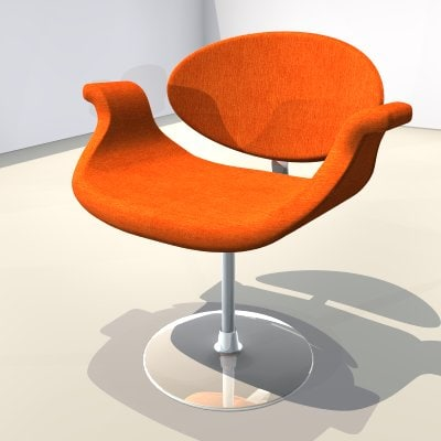 free 3ds model chair yellow orange