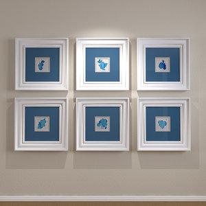3ds max framed matted artwork