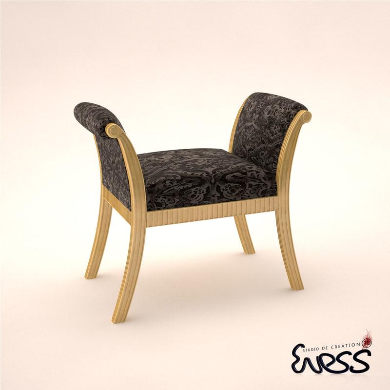 3d model bench j r scott
