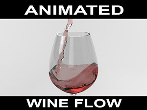 3d wine flow animation model