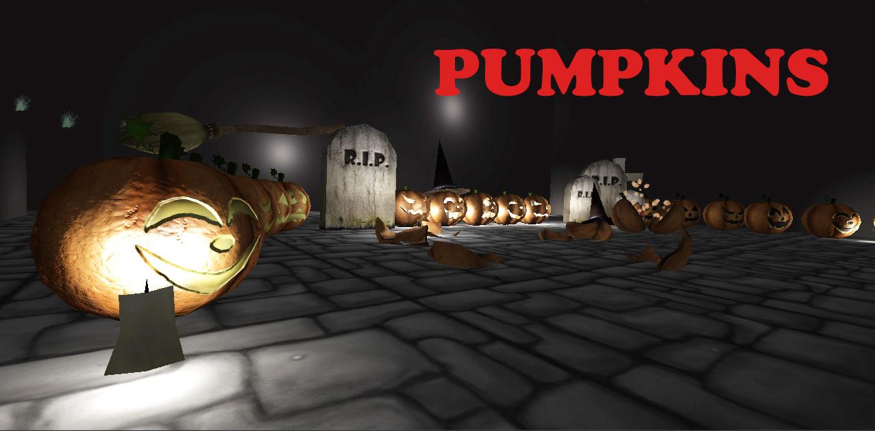 3d pumpkins graveyard halloween model