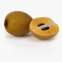 realistic sapodilla fruit real 3d obj