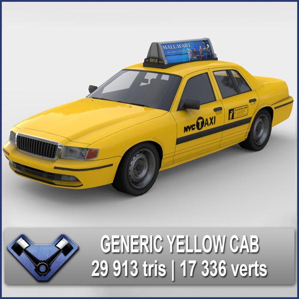 generic yellow cab 3ds