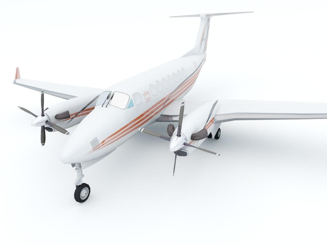aircraft beechcraft king air 3d dwg