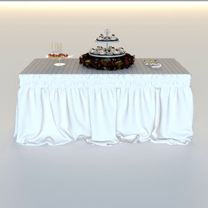 3d model drapery standing buffet table