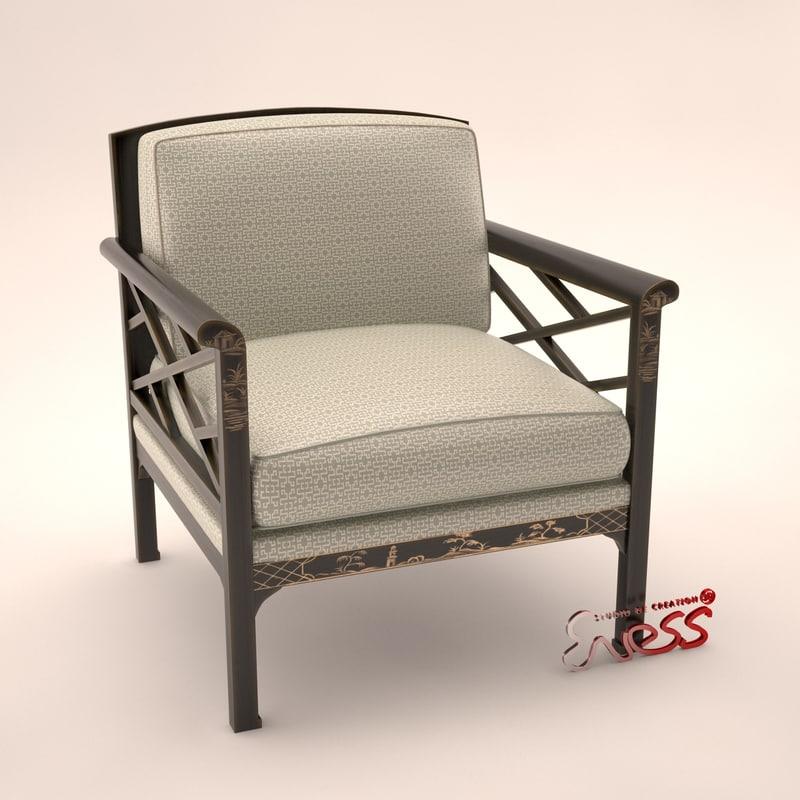 armchair baker chinese chair obj